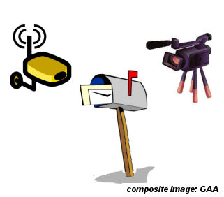 Mailbox video surveillance  *See composite component image citation