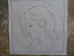 Here's the xerox copy of my drawing, ready to transfer to the watercolor paper.