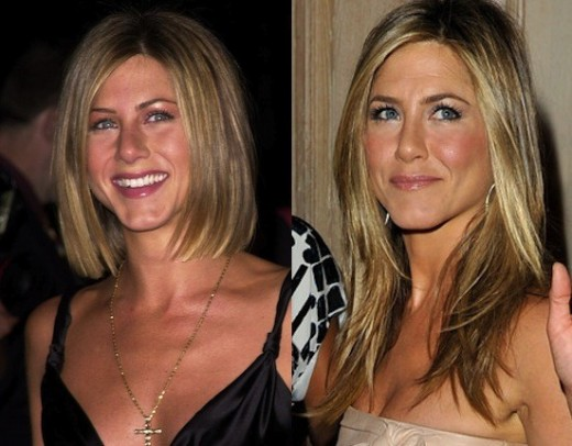 Jen Aniston in early years and recent years