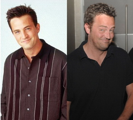 Matthew Perry in early years and recent years