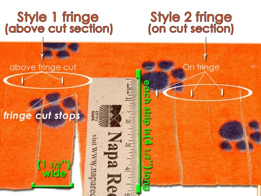 Measuring the fringe length and width and then deciding where to cut the slit, will determine which fringe edge your fleece blanket ends up sporting.
