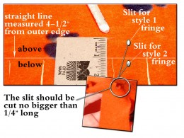 Tuck the fringe sections through the 1/4'' snipped hole (no larger) from underneath. Make the slit either above or below where the cut fringe sections end.