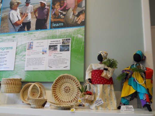 Gullah craft items for sale in the gift shop.