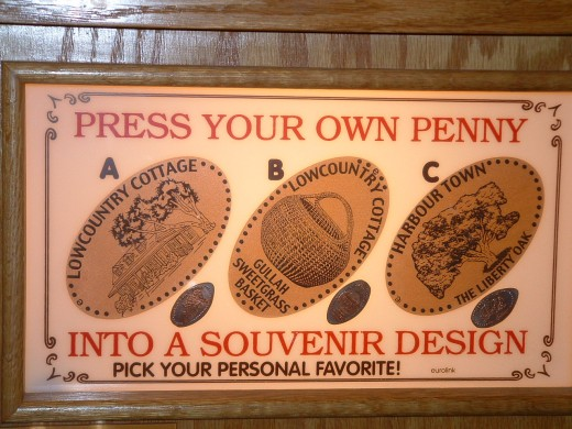 Picture of working penny press which visitors can purchase as souvenirs.