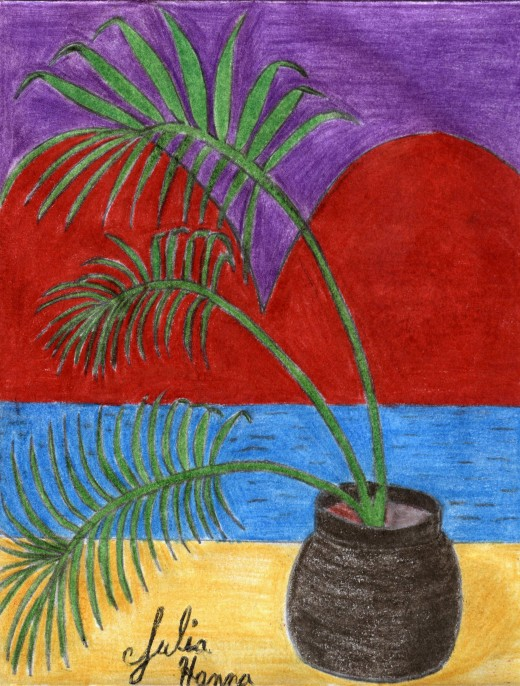 Here is my completed illustration of the palm tree heart sunset.
