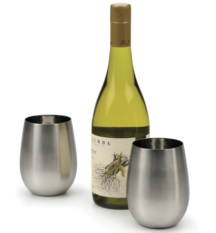 A bottle of wine and a set of RSVP Endurance Stemless Wine Glass