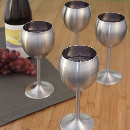 RSVP Stainless Steel Wine Glasses - Their contemporary design and steely looks shout out uniqueness and and an unparalleled visual appeal.