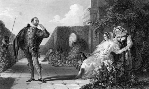 Malvolio courts Olivia while Maria cover her amusement by Daniel Maclise