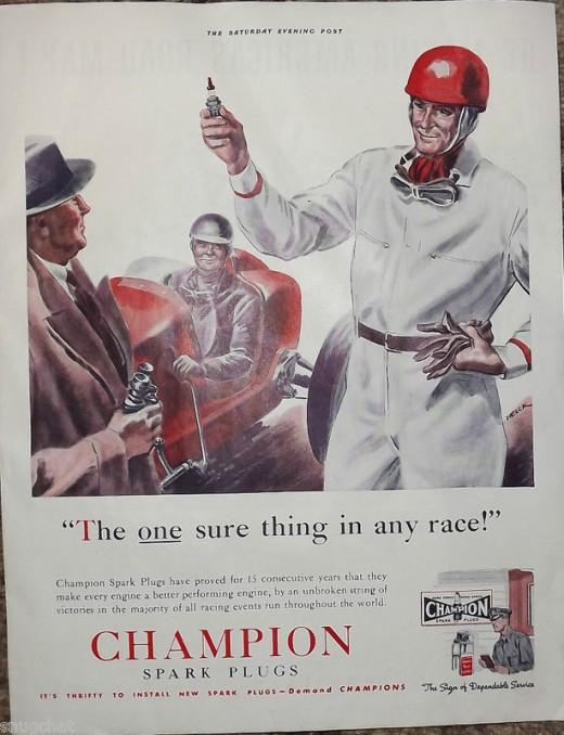 1939 Champion Spark Plugs Ad