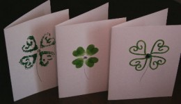 Thumb print shamrocks are fun and easy for students of any age.