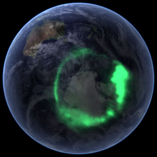 NASA photo showing an uncommon view of the Aurora Australis