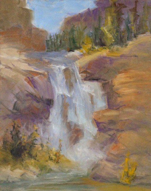 Waterfall in Pan Pastels by Robert A. Sloan