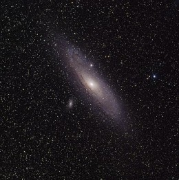 Figure 1. Can you imagine the distance of 2.5 million light-years? The spiral galaxy M31 known as Andromeda on the picture is so away from the Earth. Andromeda is the closest spiral galaxy to the Milky Way.