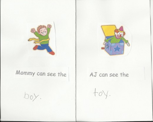 "A couple pages from ""AJ and Mommy's Wonderful Rhyming Words"""