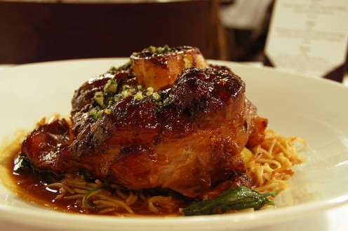 osso buco served with pasta