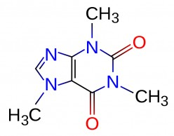 The chemical structure of caffeine.