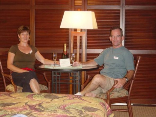 Complimentary Champagne to celebrate our 25th Wedding Anniversary at the Royal Kona Resort