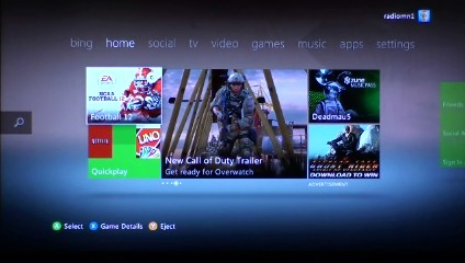The Xbox 360 home screen.