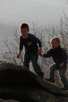 My two grandsons Colton and Maddox in a photo taken on Jump Off Rock, Laurel Park, NC
