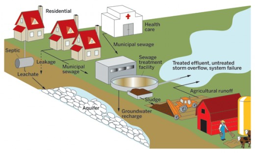 Diagram of aquifer water contamination showing the run off from various sources such as sewage, household waste and animal waste