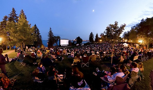 Movie in the park at Duluth, MN.