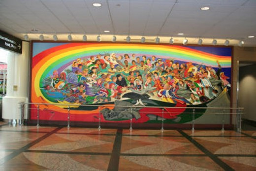 "Frame two of the two part mural ""Children of the World Dream of Peace"" by artist Leo Tanguma"