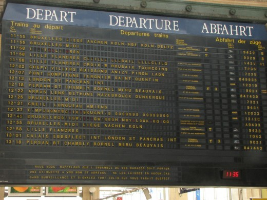 Gare Du Nord Departures Board in Mid-Flip