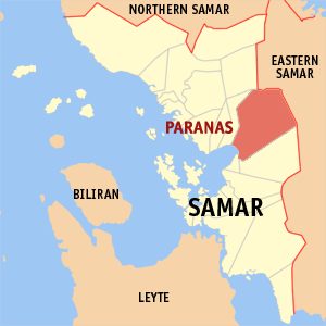 Paranas map in Samar is highlighted in red