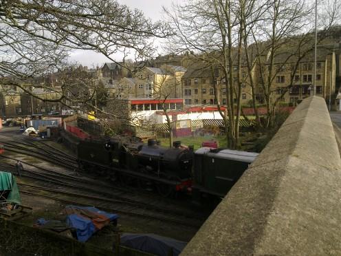 Shunter pulling the locomotive under the bridge we were stood on