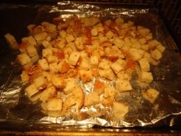 Croutons with Coconut Oil and Garlic Salt with Parsley and Season Seeds