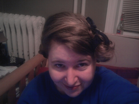 Hair up in sock curls