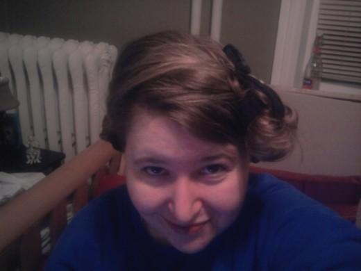 Hair up in sock curls