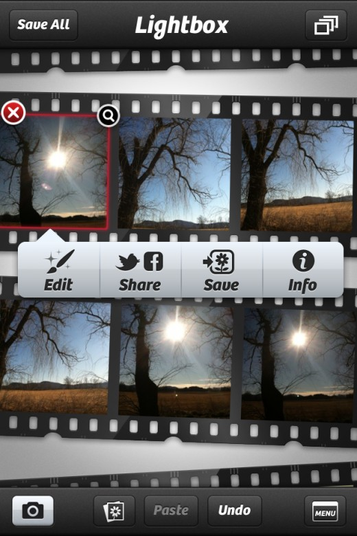 Photo+ Lightbox UI, showing additional options for photos captured using the app or uploaded from the native Camera Roll.