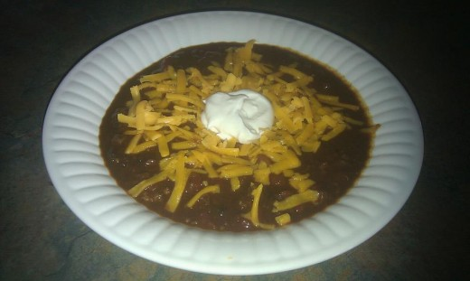 Super savory chili with cocoa powder and black beans