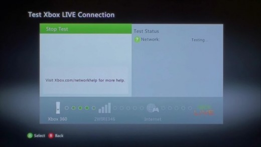 The wireless network test tests the connection between your Xbox 360 and wireless router, the connection between the router and the Internet, and the Internet and Xbox Live.