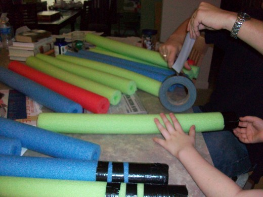 Making pool-noodle lightsabers