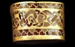 Part of the Staffordshire Hoard, found on farmland near Tamworth (dating back to Penda's time in the 7th Century)