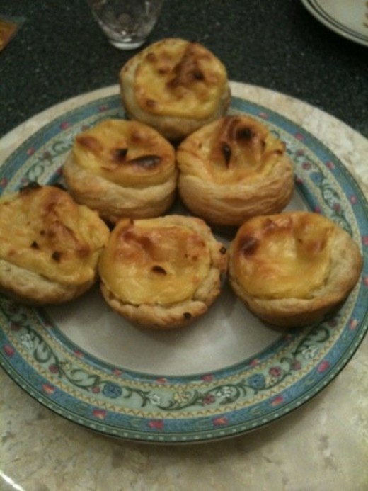 My homemade pasteis de nata. Although they don't look anything like the store-bought kind, according to my fans, they taste just as good :)