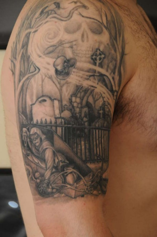 cemetery graveyard tattoos. Black Bedroom Furniture Sets. Home Design Ideas