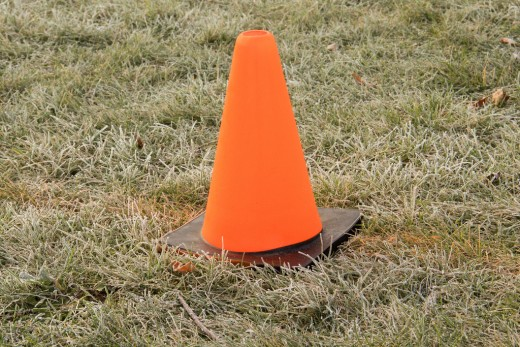 Cones are good for flags or boundary lines.