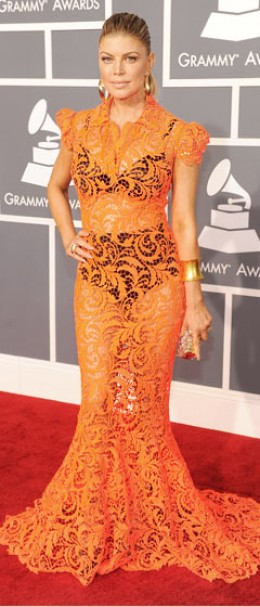 Fergie's Orange Lace Dress
