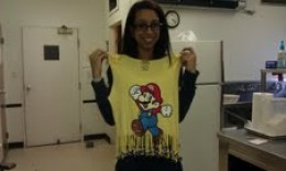 Kila with the T-shirt she created.
