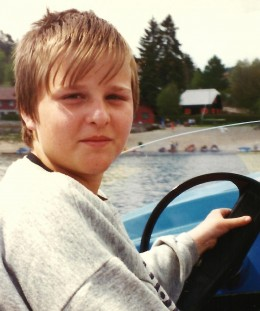Our young boat operator on Schluchsee lake.