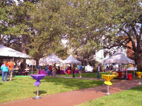 At last year's Savannah Book Festival, beautiful Telfair Square was adorned with colorful tables and food booths so that festival goers could eat a casual quick lunch or snack between lectures.