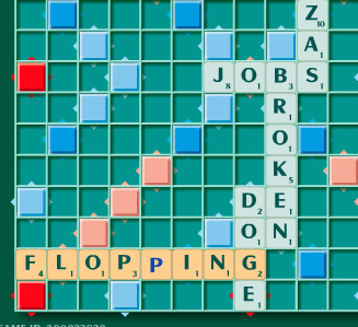 "BINGO! Using all seven of your tiles in one turn gets a 50 point bonus. The word ""Flopping"" in this game earned a total of 80 points."