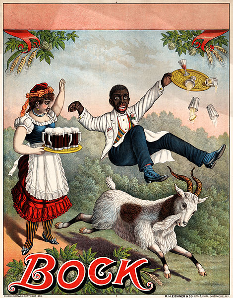 Bock Beer Advertisment, 1889. Source: Public Domain, wWkimedia Commons.