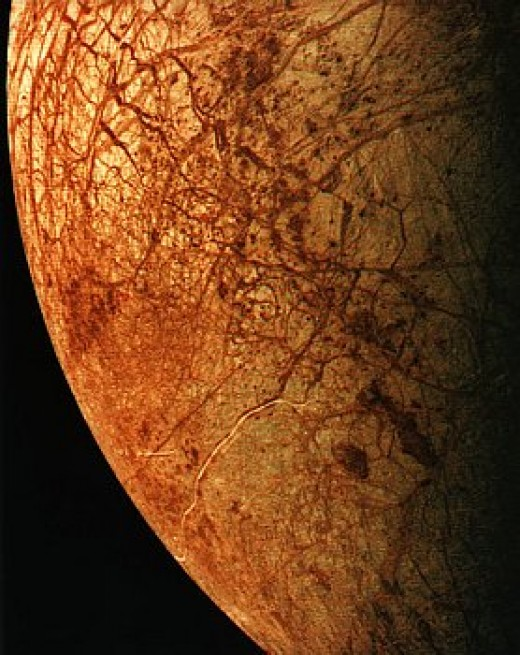 The surface of Europa is covered by ice. Diameter=3138km, period=3.5d.