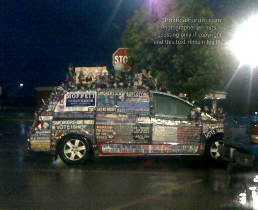 Car stuffed with political messages