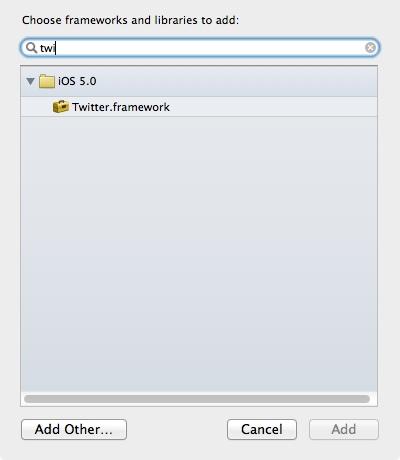 Add Twitter Framework