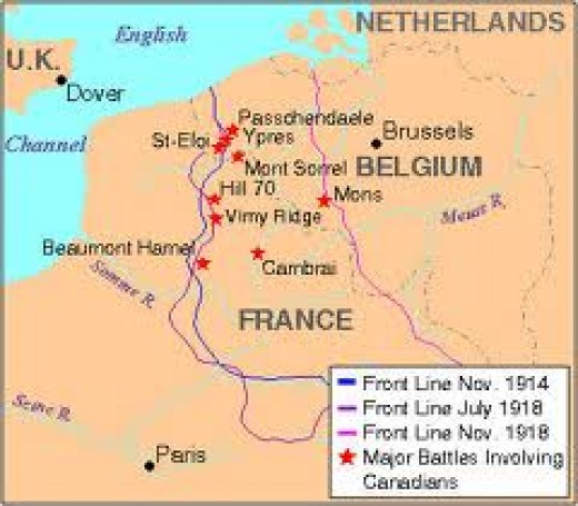 A map of the area World War I took place, and where roughly Vimy Ridge is.